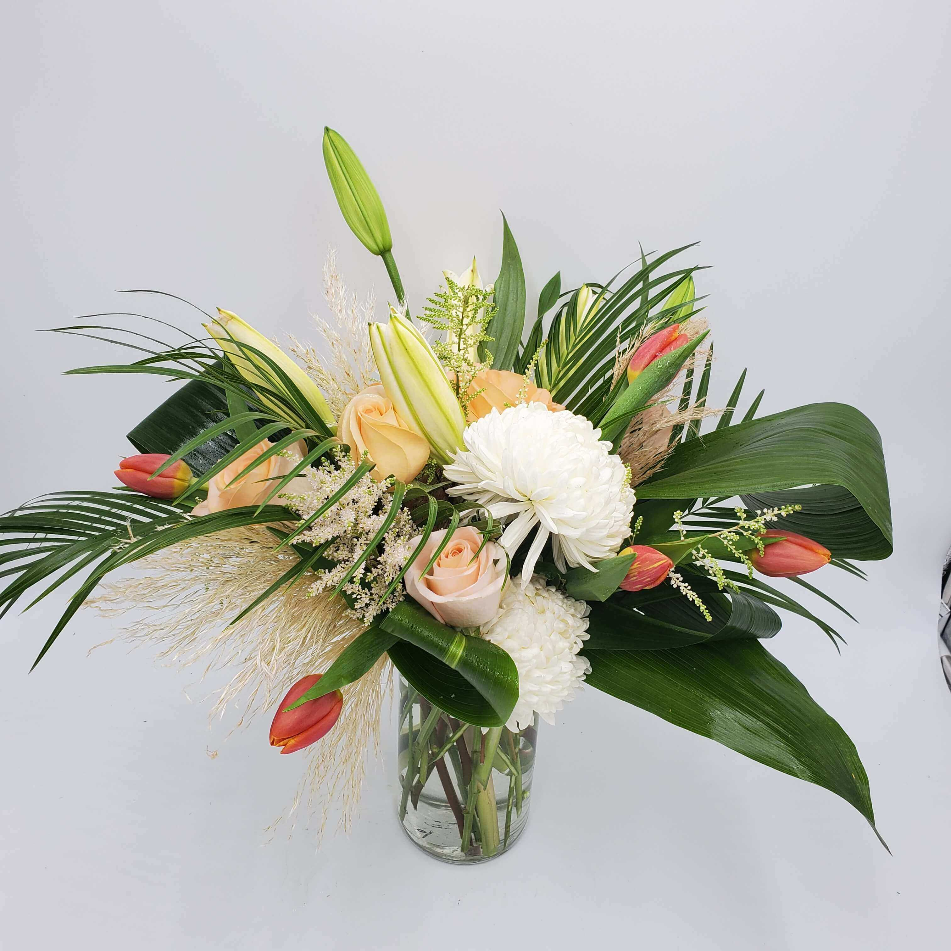 naturalistic floral design white and coral
