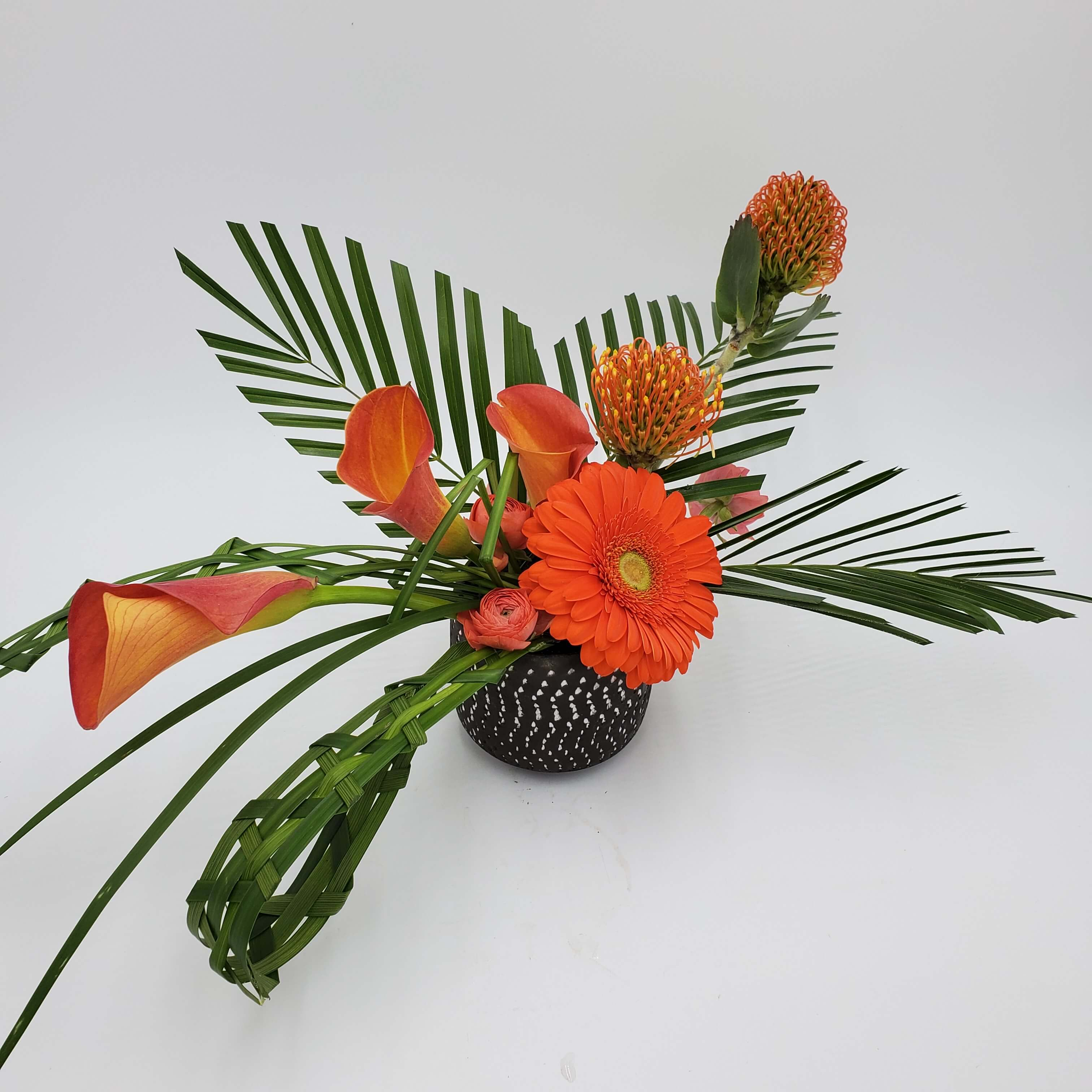 Artistic orange floral design