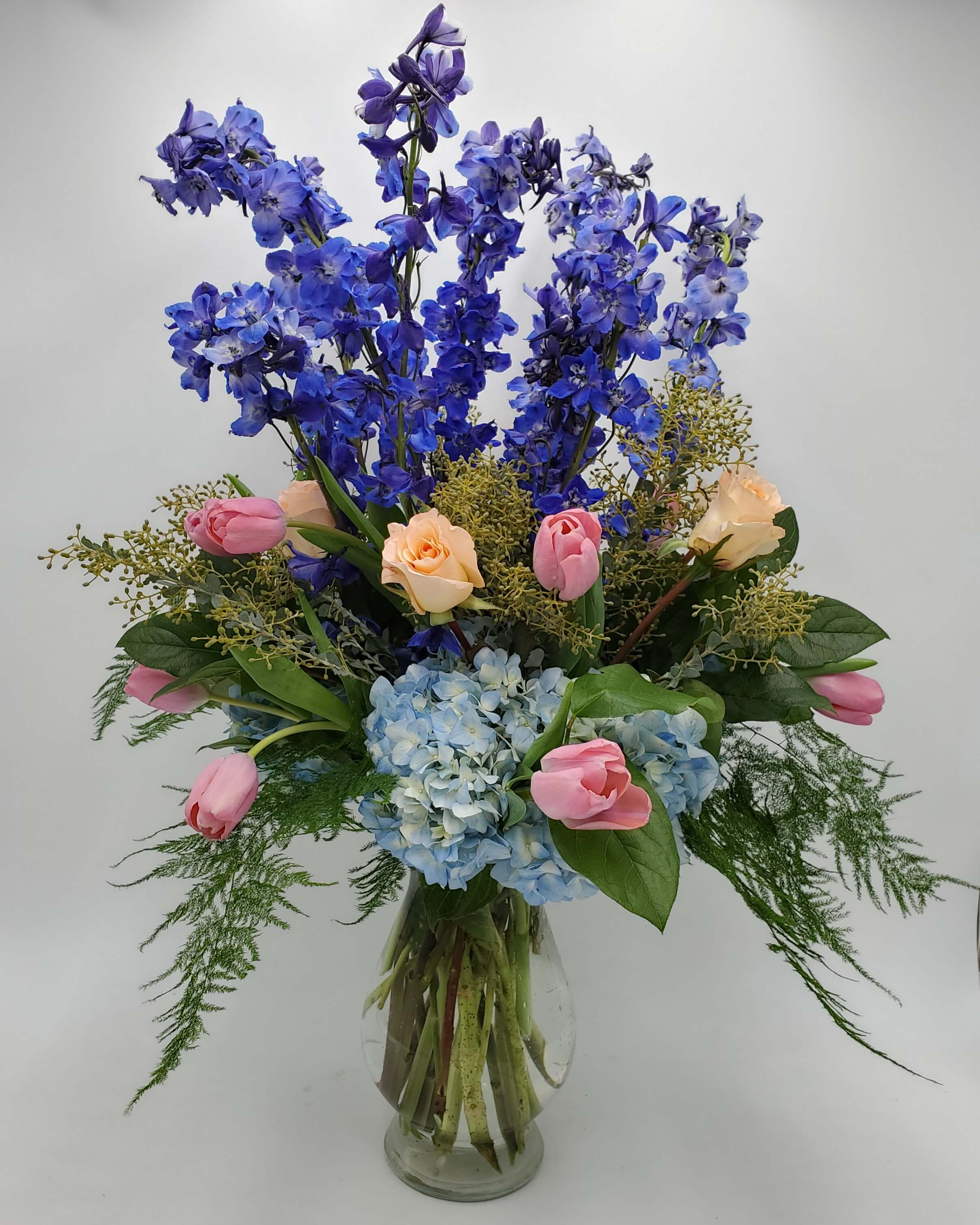 Traditional floral design in Pinks and blues