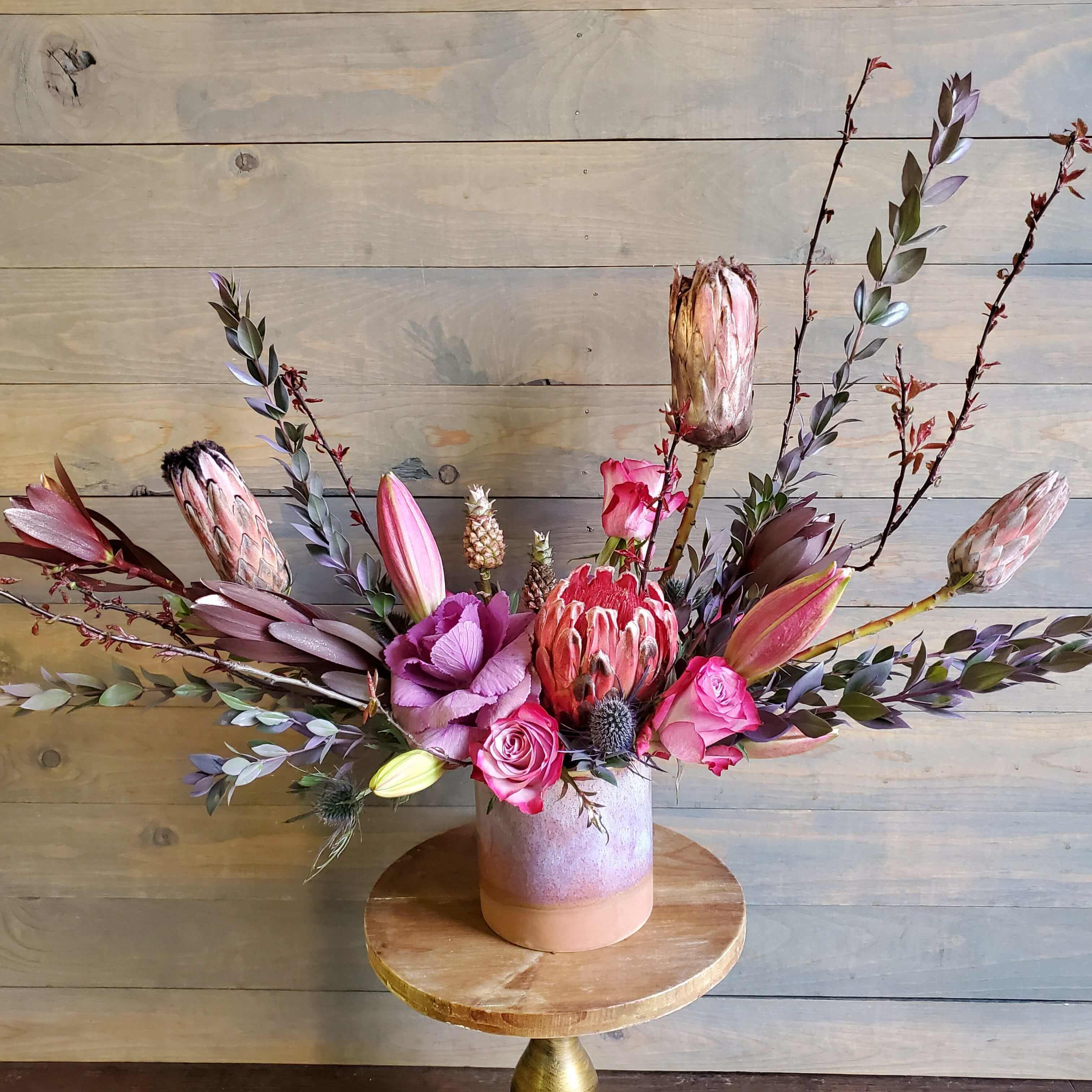 Naturalistic floral design in pink