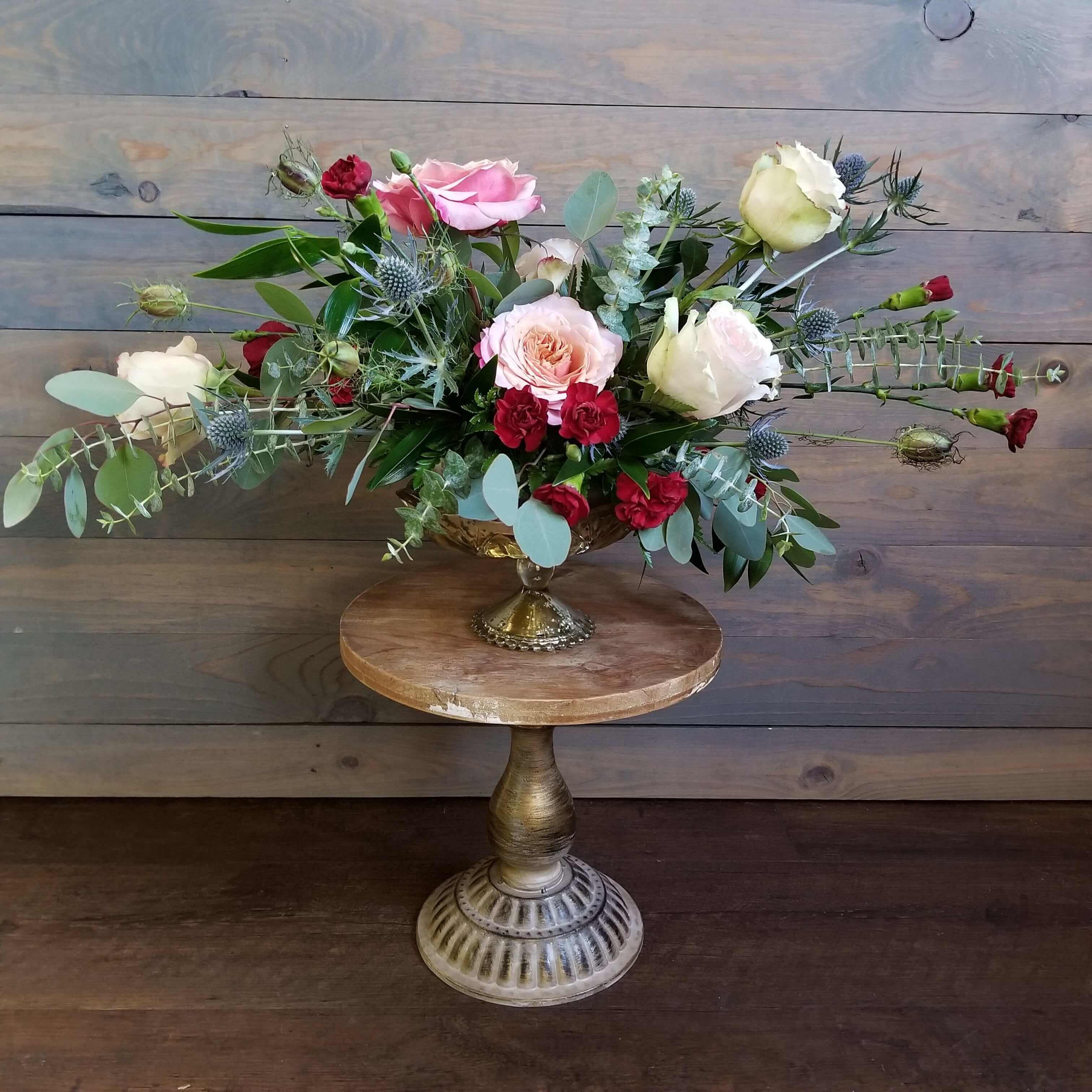 Naturalistic floral design red, white and pinks