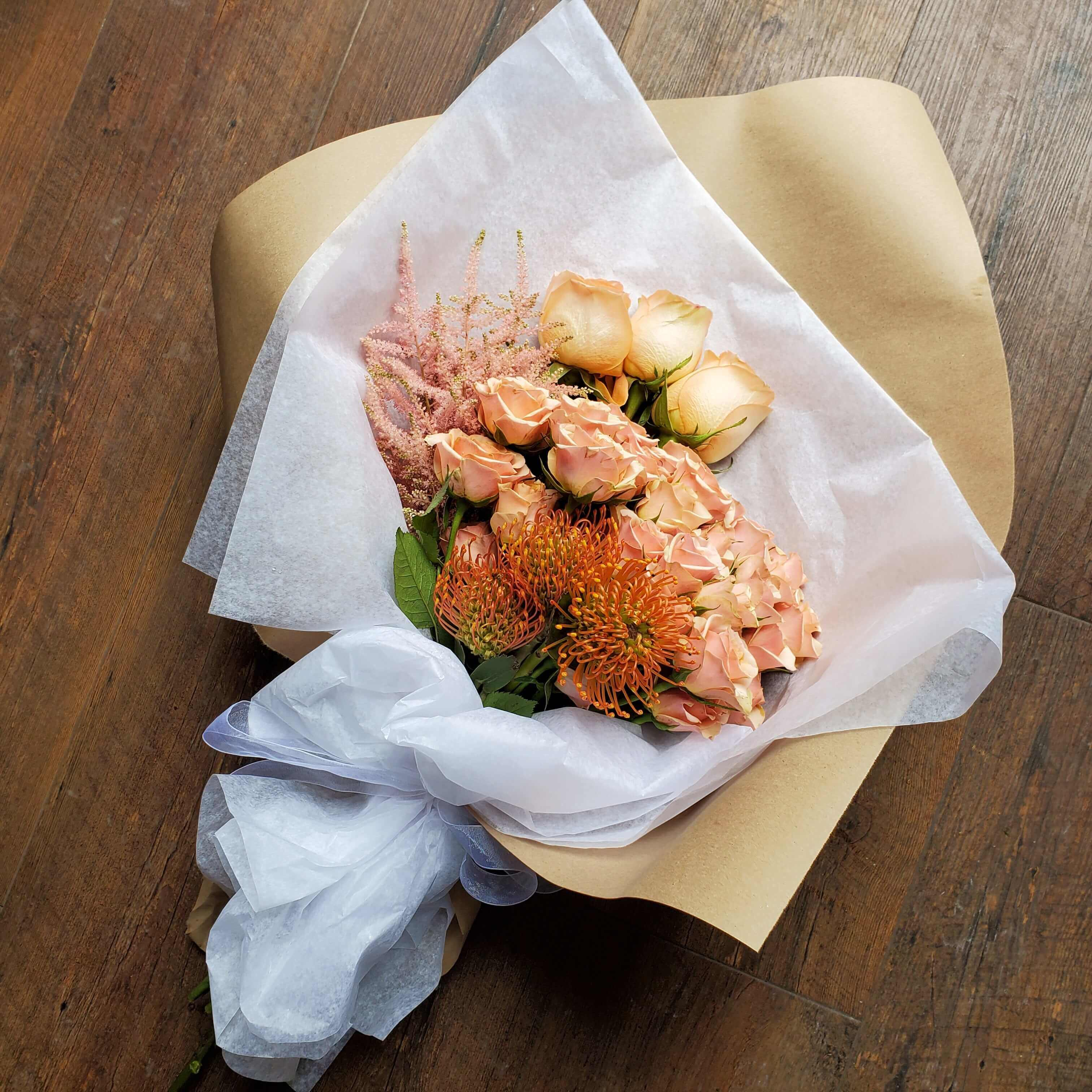 Fresh flower wrap peach colors