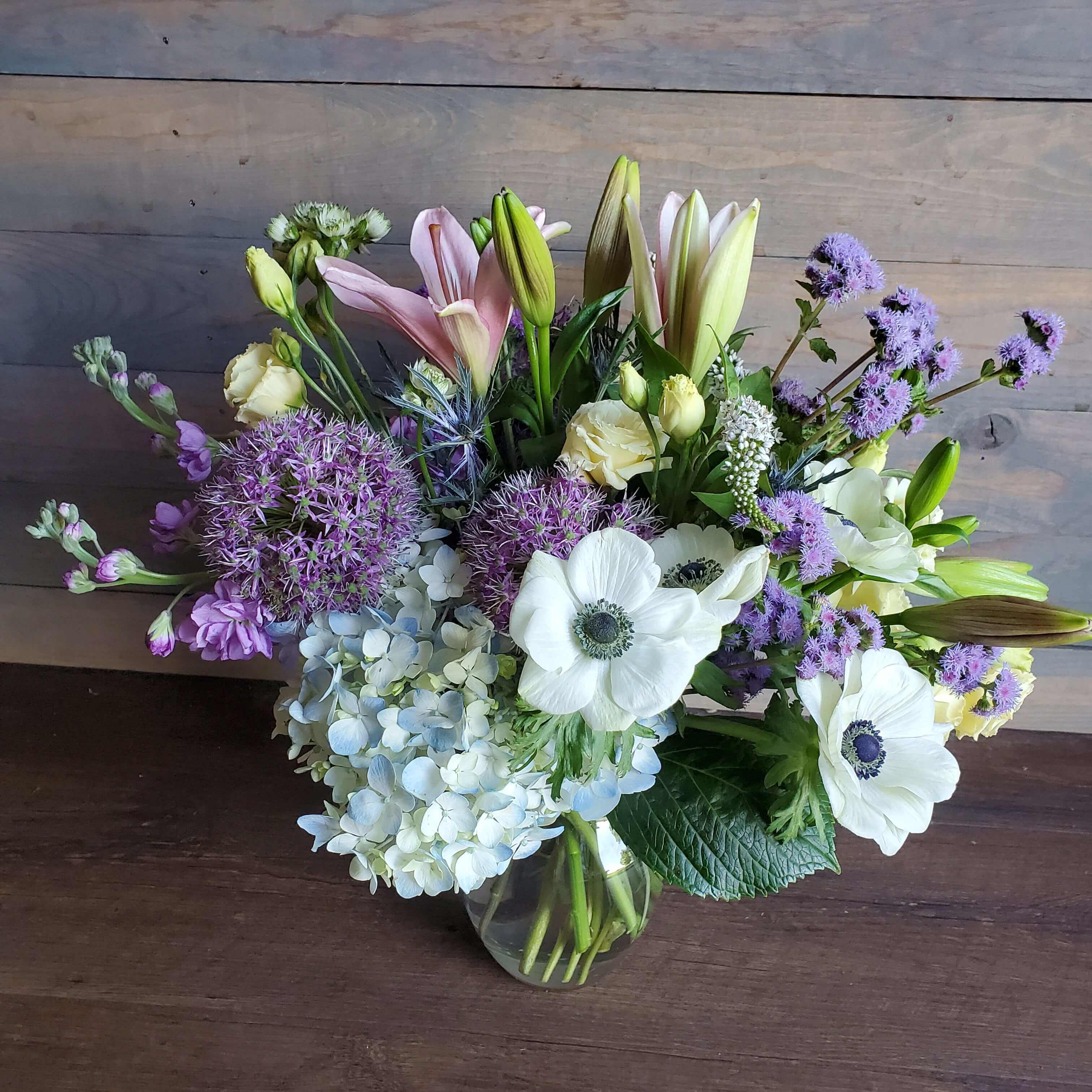 Traditional floral design in blues, white and lavender