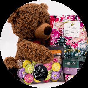 photo of gifts, like teddy bears